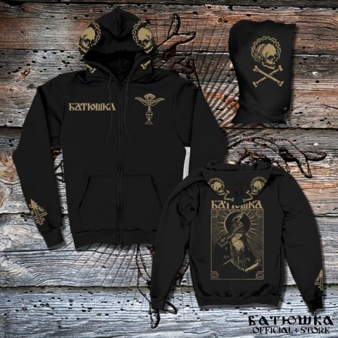 "BATUSHKA - ""SHEMA MONK GOLD EMBROIDERED"" ZIPPER HOODIE"
